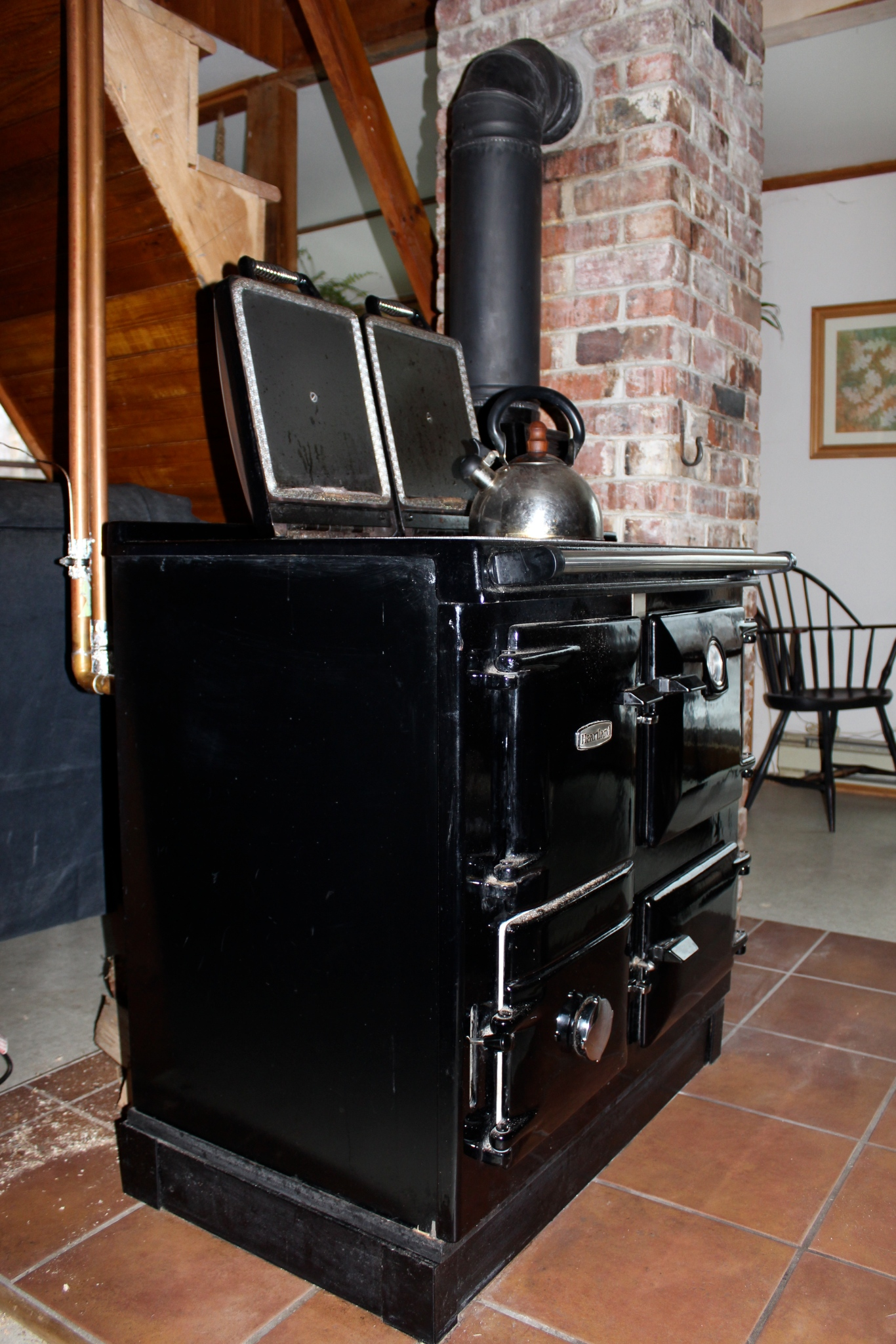 Rayburn cookstove with water jacket
