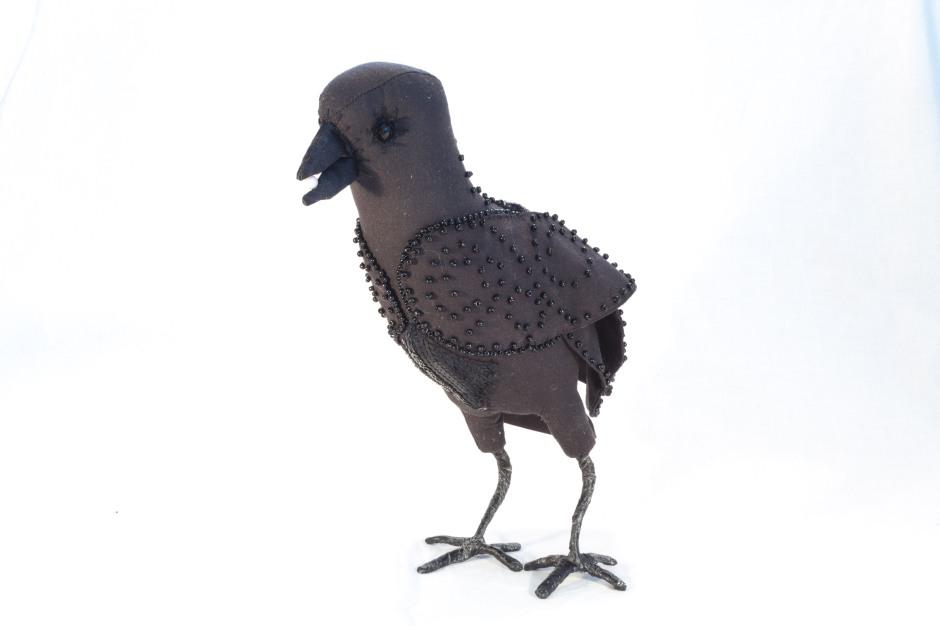 fabric crow sculpture
